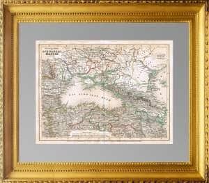 Антикварная карта Черного моря и прибрежных государств. 1845г.