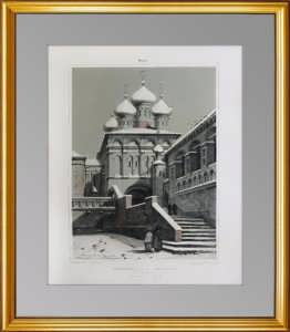 Москва. Кремль. Успенский собор. 1847г. Дюран. Антикварный VIP подарок чиновнику в кабинет