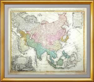Азия. Хоманн. 1744г. Старинная карта России, антикварный ВИП подарок руководителю