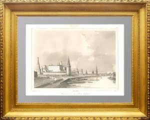 Москва. Вид на  Кремль и Каменный мост. 1838г. Кадоль. N22. Антикварная гравюра в подарок