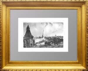 Москва. Вид на эспланаду Кремля. 1838г. N100. Старинная гравюра, антикварный подарок