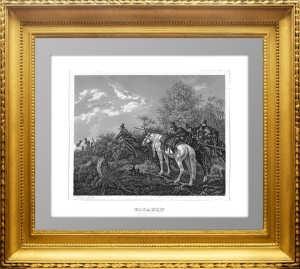 Казаки в дозоре. 1840г. Хесс. Миниатюрная старинная гравюра на стали
