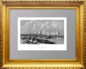 Кремль. 1840г. Викерс/Херцер. Старинная гравюра с видом Москвы. Универсальный подарок