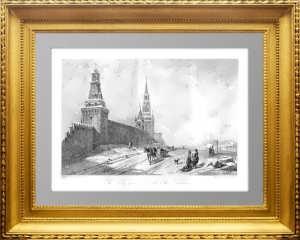 Москва. Святые ворота и стены Кремля.1844г. Викерс