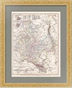 Европейская Россия.  1849г. Антикварная карта