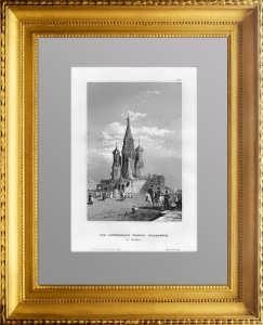 Храм Василия Блаженного. 1850г. Викерс/Маер. Гравюра - антикварный подарок