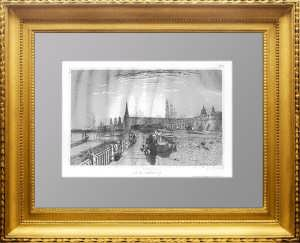 Москва. Вид Кремля. 1859г. Lhuillier /Викерс. Антикварная гравюра XIX века