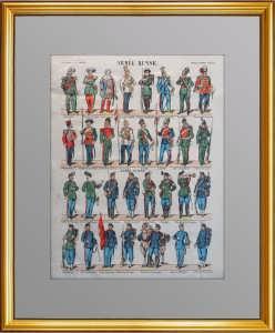 Униформа российской и швейцарской армий. 1870г. Эпинальская картинка. (лубок)