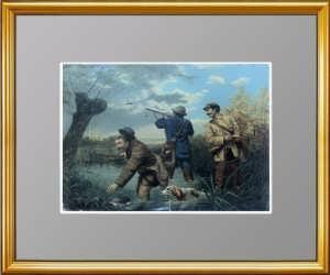 Охота на уток. 1880г. Старинная литография 19 века - антикварный VIP подарок охотнику