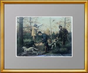 Охота на фазанов. 1880г. Старинная литография 19 века - антикварный VIP подарок охотнику