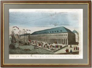 Вид Биржи и Гостиного двора вверх по Малой Неве. Oк.1755г. C рис. Махаева. Антикварная гравюра