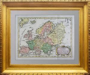 Европа. 1791г. Бюшинг/Рейли. Акварельная раскраска. Антикварная карта - подарок