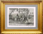 Наполеон допрашивает молодого казака. ок.1850г. ФИЛИППОТО. Старинная гравюра на дереве