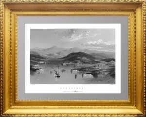 Севастополь с высоты птичьего полета. 1850г. Старинная гравюра. Рамаж.