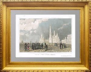 Колокольня Ивана Великого. Москва. 1859г. Lhuillier /Викерс. Старинная гравюра, акварель