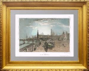 Москва. Вид Кремля. 1859г. Lhuillier /Викерс. Акварельная раскраска