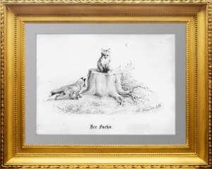 Хайдер. Лисы. 1867г. Старинная литография.  Замечательный антикварный подарок охотнику.