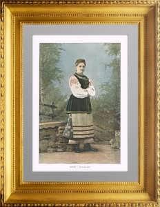 1890г. Жительница Малороссии в национальном костюме. Фотогравюра. Гийо