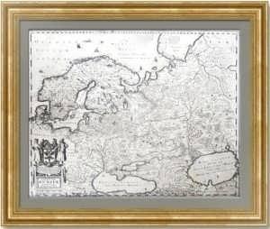 Антикварная карта России «NOVISSIMA RUSSIÆ» Хондиуса по Массе. 1640г. Изысканный VIP подарок