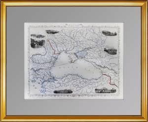Старинная карта Черного моря, Крым. Рапкин. 1855г. Антикварный ВИП подарок патриоту