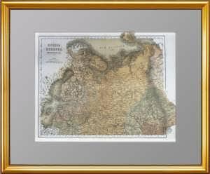 Север Европейский РОССИИ с Польшей и Финляндией. 1870г. Чивелли. Антикварный подарок