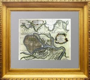 Старинный план Санкт-Петербурга. 1749г. Эффектный антикварный VIP подарок чиновнику