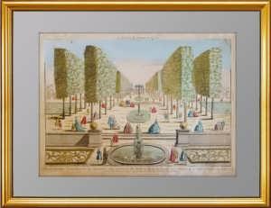 Дом  перед каналом, ведущим в Петербург (Петергоф?). 1770г. Антикварная гравюра в подарок