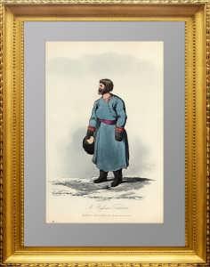 Русский купец. Акватинта. 1809г. Портер/Хьюберт. Акварельная раскраска