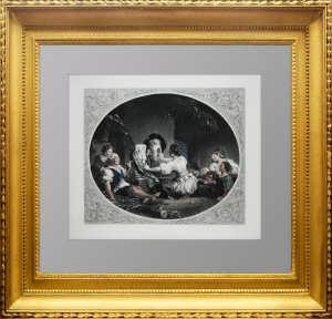 Балетная репетиция. Дрессура собак. 1850г. Фрагонар. Антикварный подарок женщине