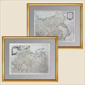 Генеральная карта Рос. империи в Европе и Азии (лист1+2), ок.1770г. Вогонди. Музейный экземпляр.