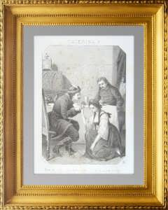 Екатерина I вымаливает прощение у Петра I. 1864г. Антикварная литография
