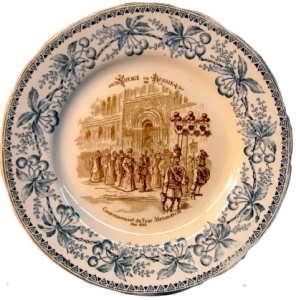 Декоративная тарелка. Коронация Александра III в 1883г. Путешествие в Россию.