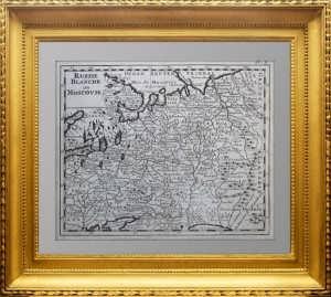 Белая Россия или Московия. 1736г. Russie Blanche ou Moscovie. Старинная карта России
