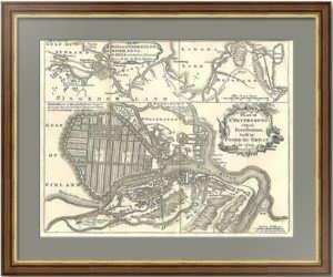 Старинный план Петербурга. 1749г.  Антикварный VIP подарок в кабинет