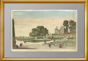 Вид на Загородный Дворец Императрицы России. 1760-1780г. Антикварная гравюра