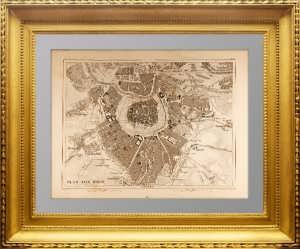 Вена. Антикварный план города. 1844 г. Хек