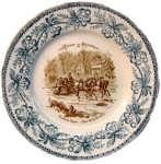 Декоративная тарелка. 1883г.  Русские сани (острова Невы). Путешествие в Россию.