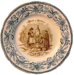 Декоративная тарелка. 1883г.  С самоваром на природе. Путешествие в Россию.
