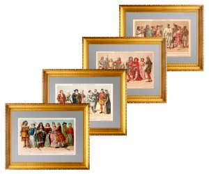 История костюма от античности до XVI века.  1893г. Набор из четырёх литографий.