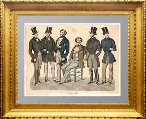 Мужская мода. 1851г. Ручная акварельная раскраска. Старинная гравюра - подарок модельеру, дизайнеру