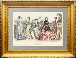Парижская мода. 1868г. Август. Ручная акварельная раскраска. Антикварный подарок женщине
