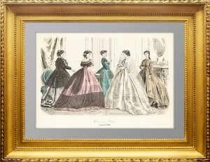 Парижская мода. 1868г. Январь. Ручная акварельная раскраска. Антикварный подарок женщине