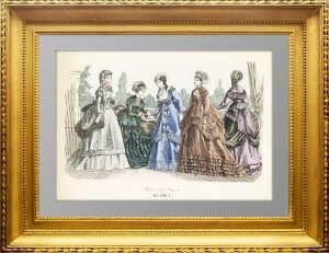Парижская мода. 1869г. Май. Ручная акварельная раскраска. Антикварный подарок женщине