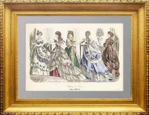 Парижская мода. 1869г. Март. Ручная акварельная раскраска. Антикварный подарок женщине