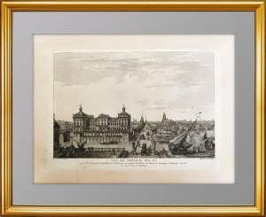 Петербург. Новый дворец со стороны Аничкова моста. 1783г. Антикварная гравюра, ВИП подарок