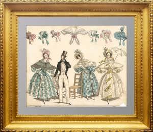 Платье для летних прогулок. ок. 1830г. Лейпциг. Старинная гравюра. Антикварный подарок даме