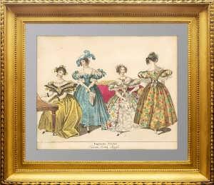 Английская мода. Бальные платья. ок. 1830г. Лейпциг.  Старинная гравюра. VIP подарок даме