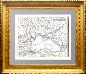 Антикварная карта Черного моря. 1833г. Подлинная гравюра