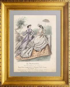 Парижская мода. Платье для летних прогулок. 1855г. Ручная раскраска. Le Printemps