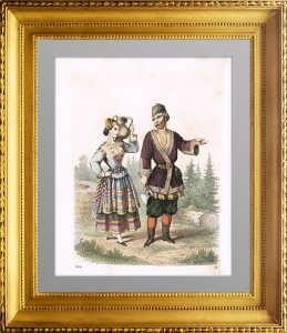 Костюмы народов Российской империи. 1856г. Русские.  Антикварный подарок